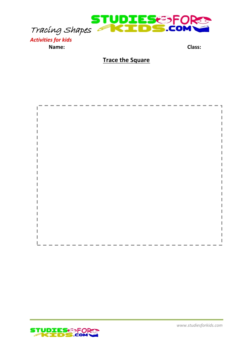 tracing shapes worksheet for kindergarten trace the square