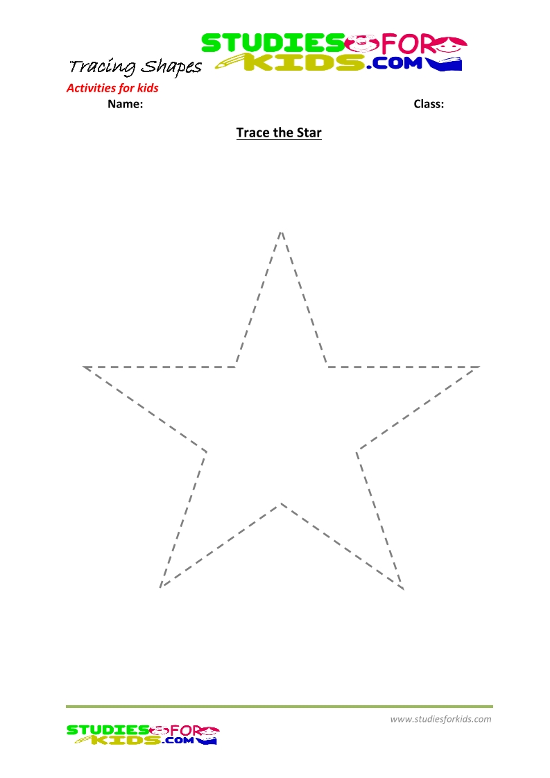 tracing shapes worksheet for kindergarten trace the star