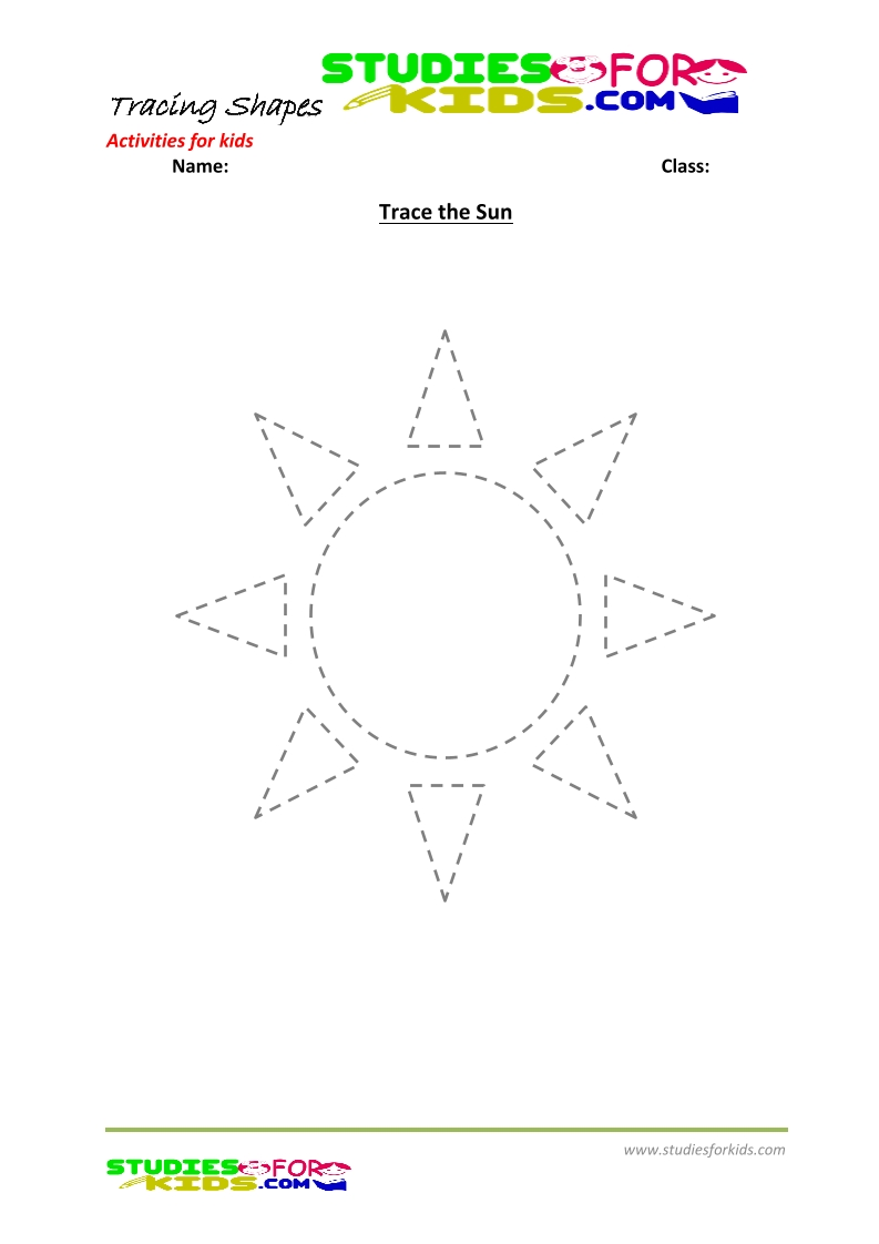 tracing shapes worksheet for kindergarten trace the sun