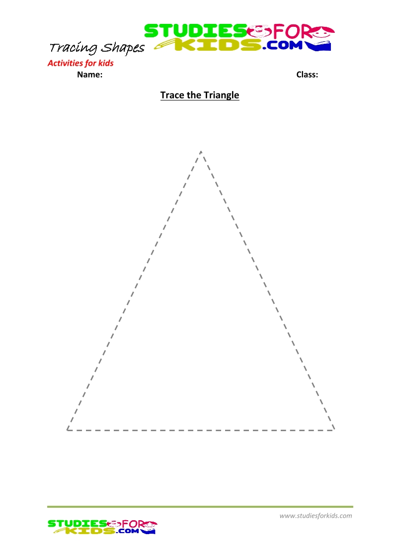 tracing shapes worksheet for kindergarten trace the triangle