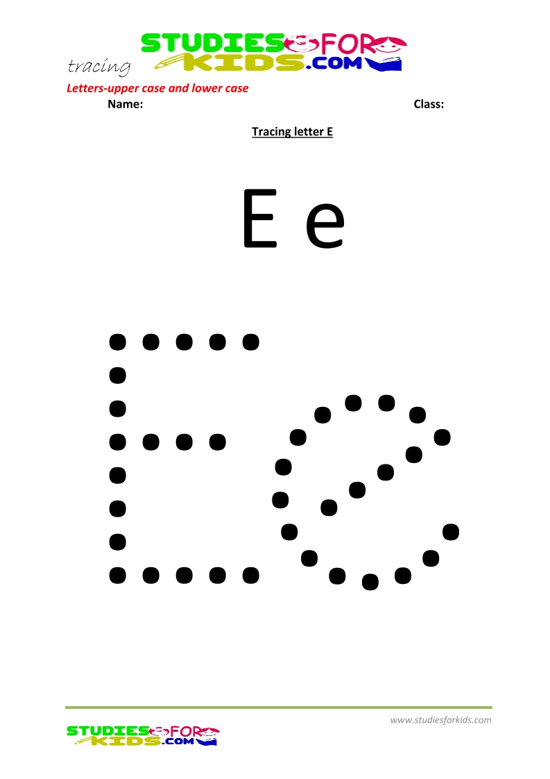 worksheets for tracing letters Letter upper and lower case  E .pdf