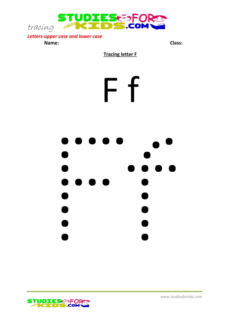 worksheets for tracing letters upper and lower case  F .pdf