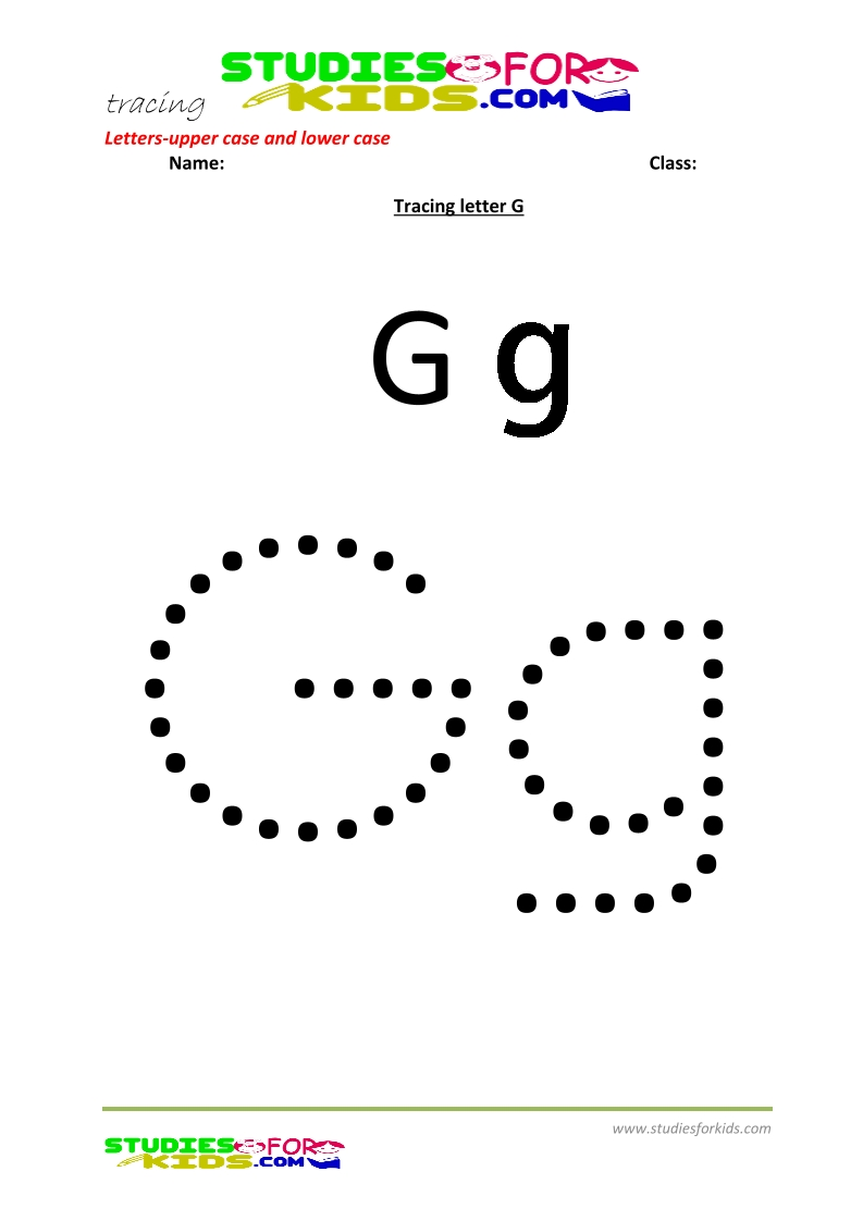 worksheets for tracing letters Letter upper and lower case  G .pdf