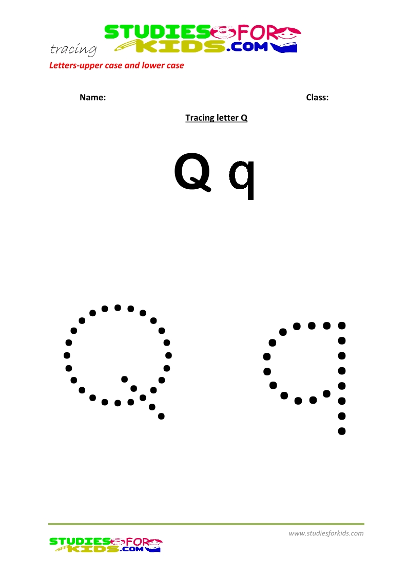worksheets for tracing letters  upper and lower case Q .pdf