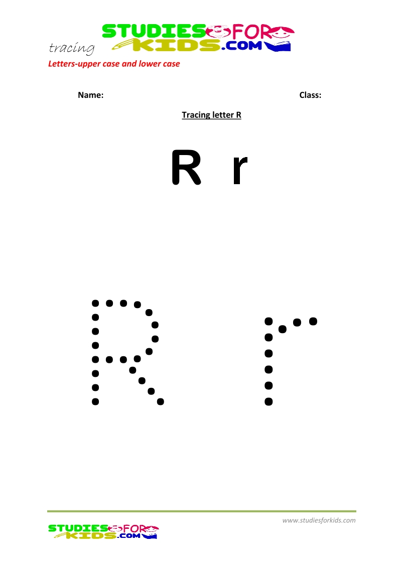 worksheets for tracing letters  upper and lower case R .pdf