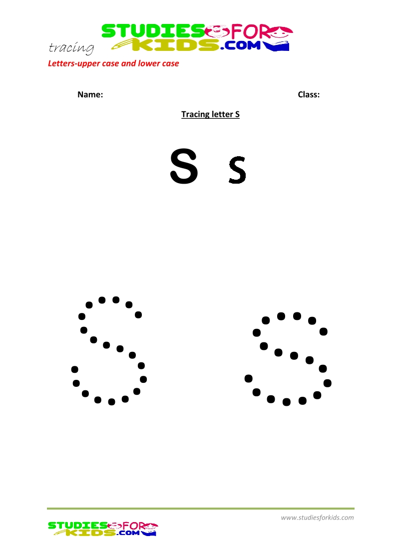 worksheets for tracing letters  upper and lower case S .pdf