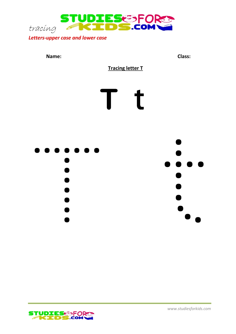 worksheets for tracing letters Capital and lower case  T .pdf