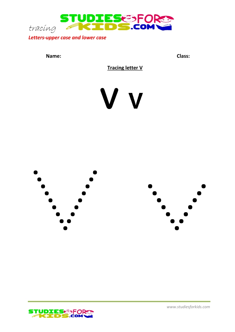 worksheets for tracing letters Capital and small letter V .pdf