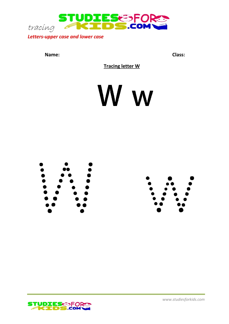 worksheets for tracing letters Capital and small letters W .pdf