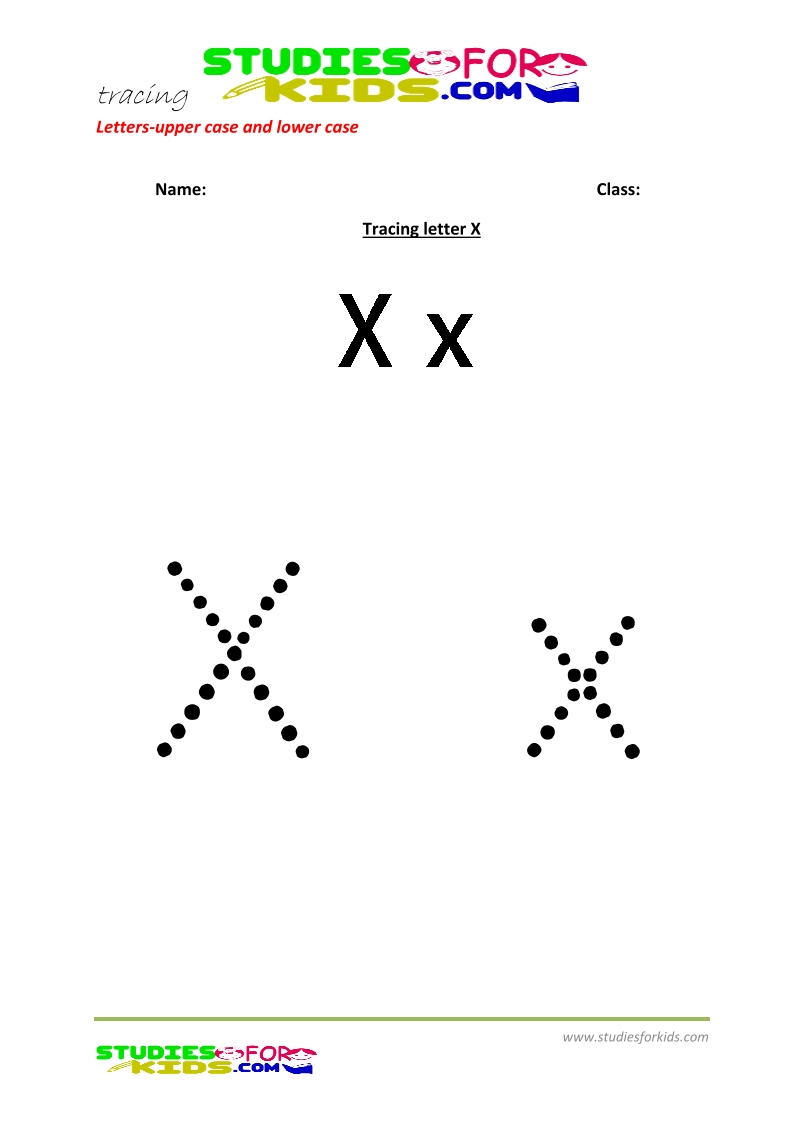 worksheets for tracing letters big and small letter  X .pdf