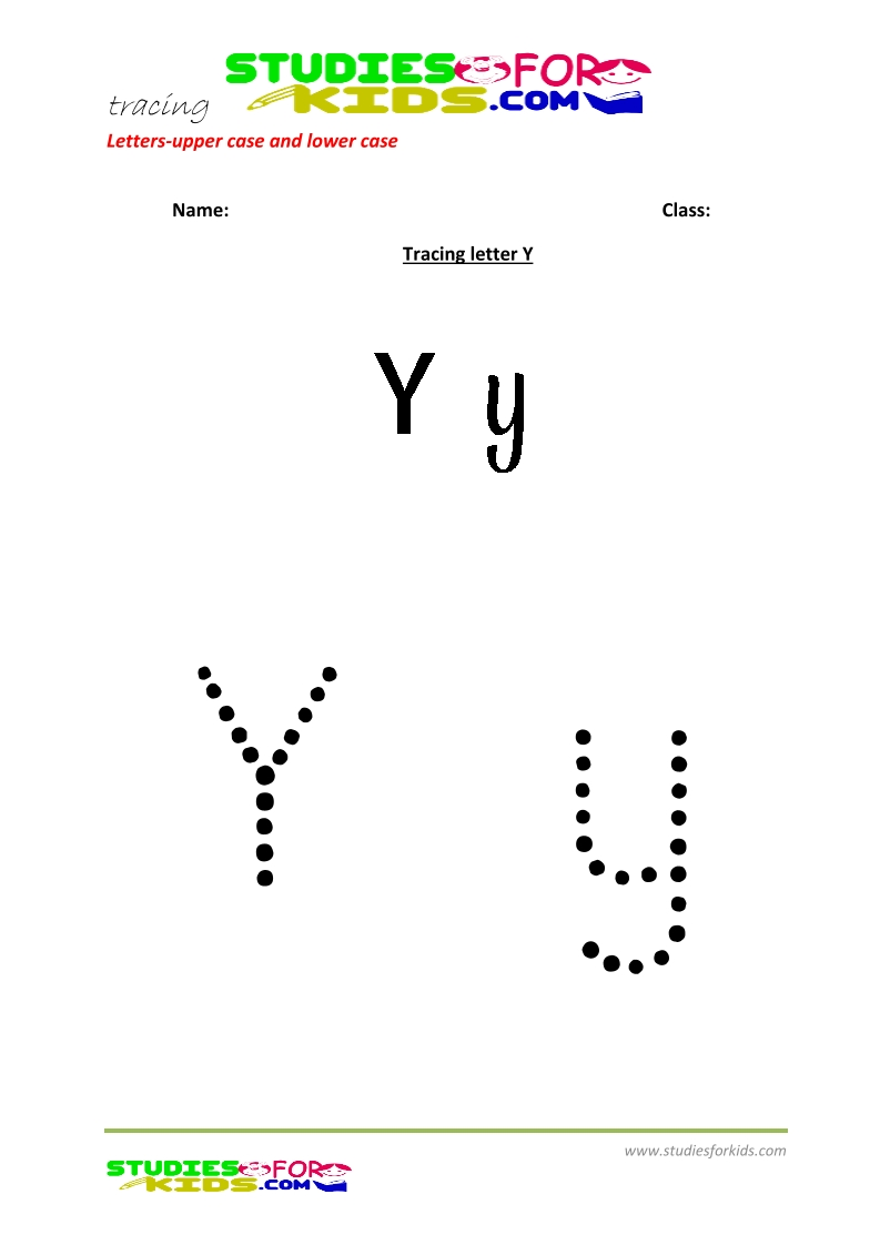 worksheets for tracing letters large and small letter Y .pdf