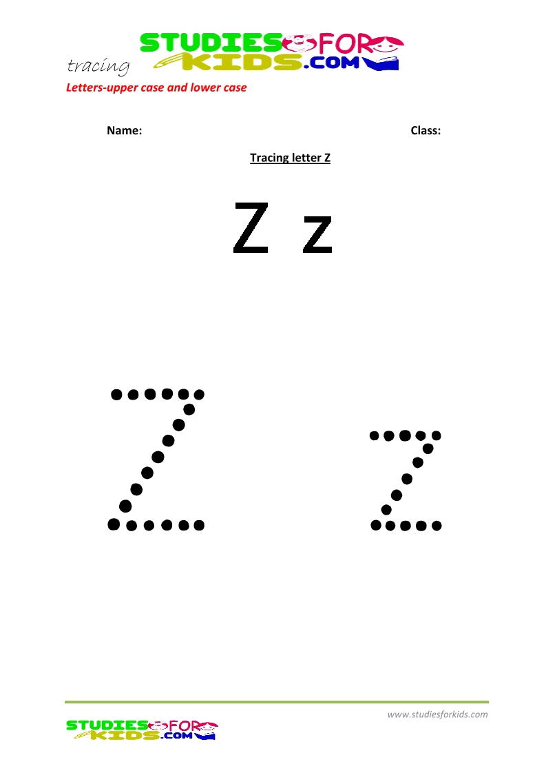 worksheets for tracing letters  upper and lower case  Z .pdf