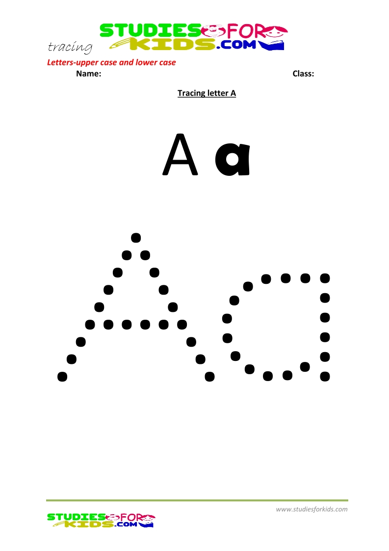 worksheets for tracing letters Letter upper and lower case  A .pdf