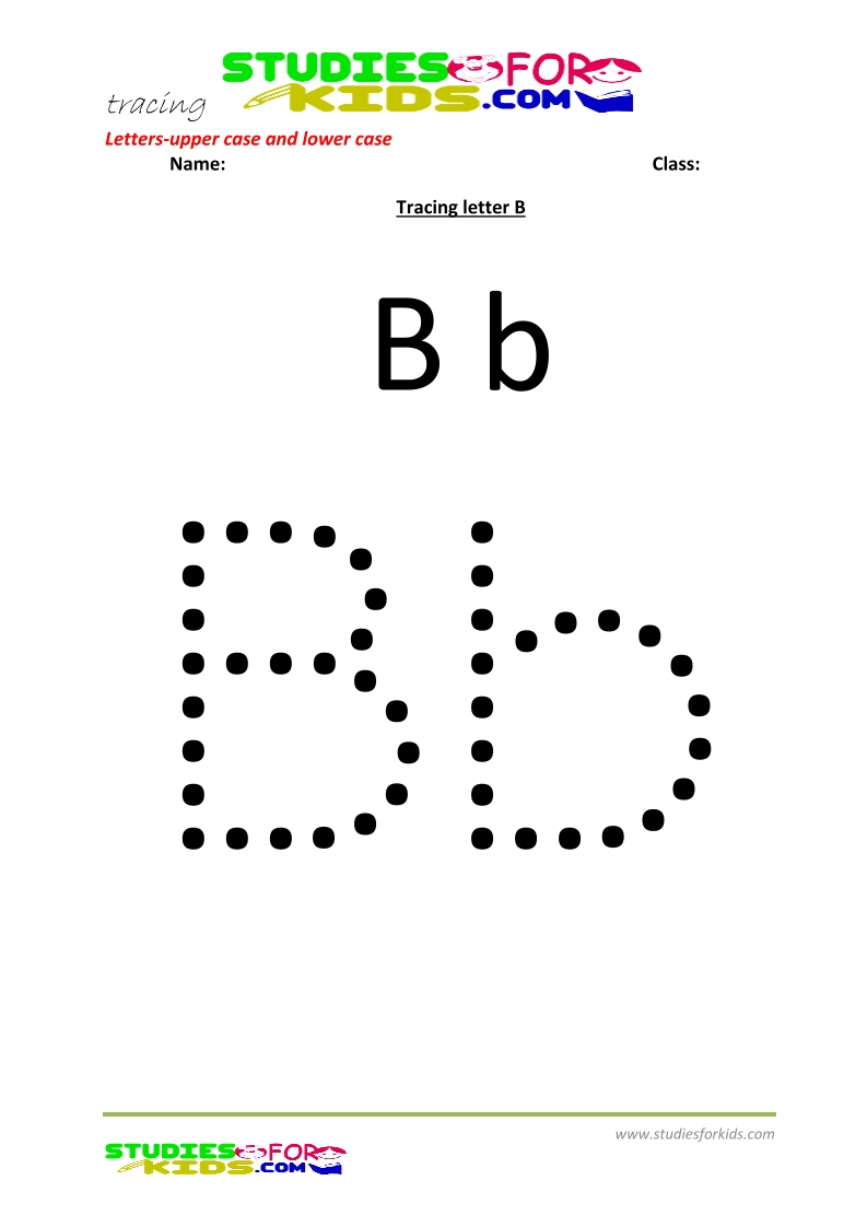 worksheets for tracing letters Letter upper and lower case  B .pdf