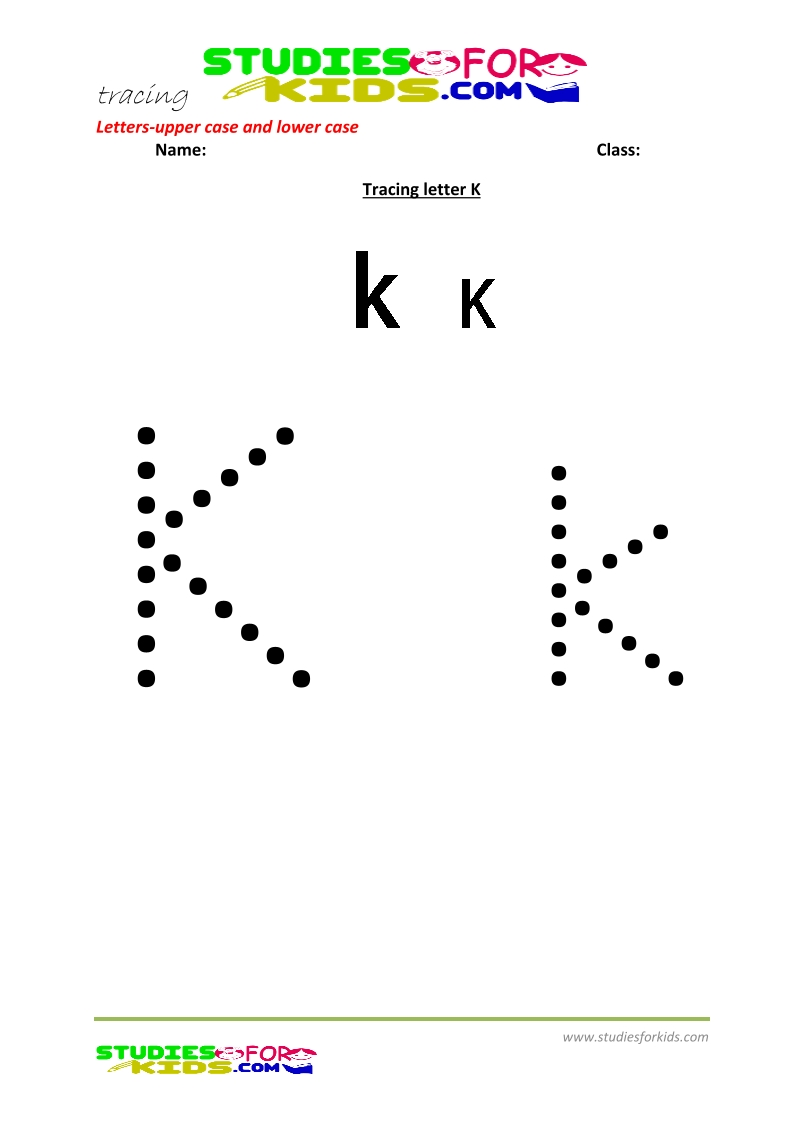 worksheets for tracing letters  upper and lower case  K .pdf